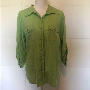Karen Scott green button up womens blouse 2X